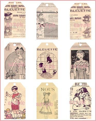 Bleuette Tag Sheet #1 Vintage Style Doll Tags