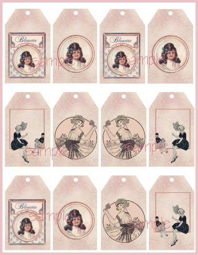 Bleuette Tag Sheet #3 Vintage Style Doll Tags
