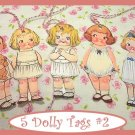 Dolly Dingle Tag Set Vintage Retro Style 5 Pc #2