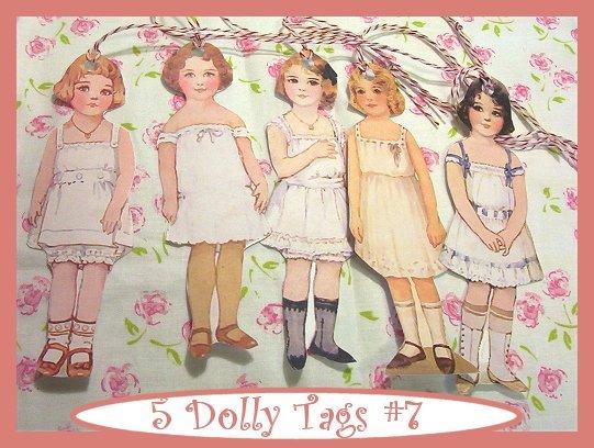 Vintage Style Paper Doll Tag Set Vintage Retro Style 5 Pc #3