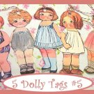 Dolly Dingle Tag Set Vintage Retro Style 5 Pc #5
