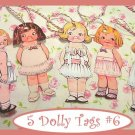 Dolly Dingle Tag Set Vintage Retro Style 5 Pc #6