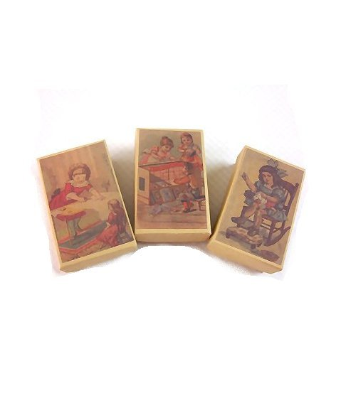3 Wee Doll Boxes/Lids #V6  Antique Style Doll Boxes