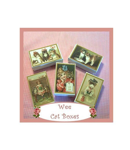 5 Wee Doll Boxes/Lids #V10  Antique Style Cat Boxes