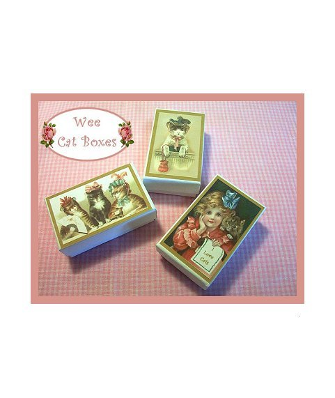 3 Wee Doll Boxes/Lids #V11  Antique Style Cat Boxes
