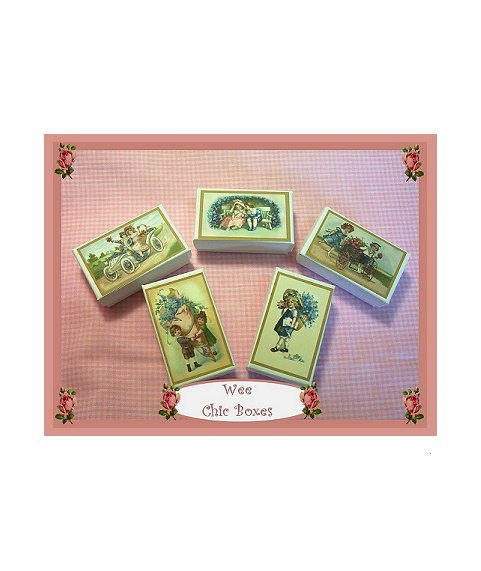 5 Wee Doll Boxes/Lids #V12  Antique Style  Boxes