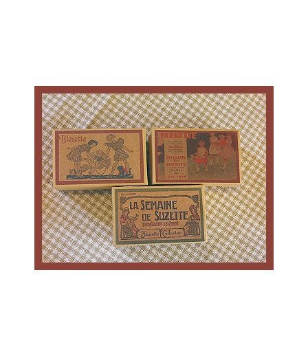 3 Wee Bleuette Boxes #B1  Antique Style  Boxes