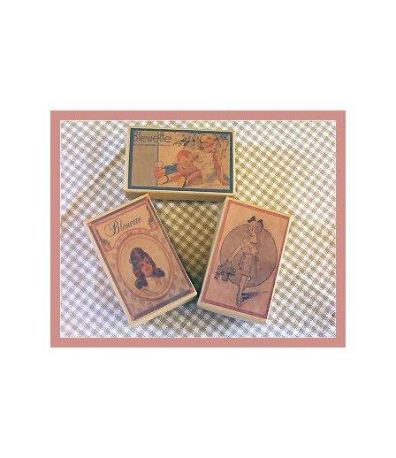 3 Wee Bleuette Boxes #B2  Antique Style  Boxes