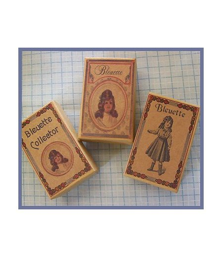3 Wee Bleuette Boxes #B5  Antique Style  Boxes