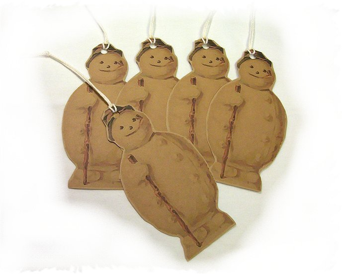 5 Vintage Inspired SnowmanTags, Ornies, Decorations  #7