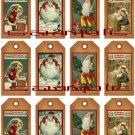 12 Vintage Primitive Santa Tags #2