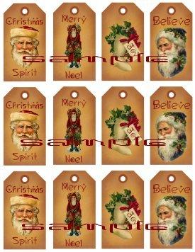 12 Vintage Primitive Santa Tags #4
