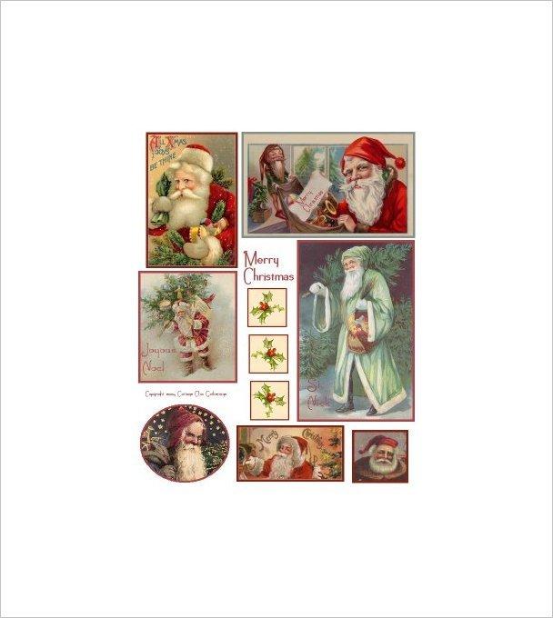 "Vintage Christmas Sticker Sheet Uncut 8.5x11"" S3"