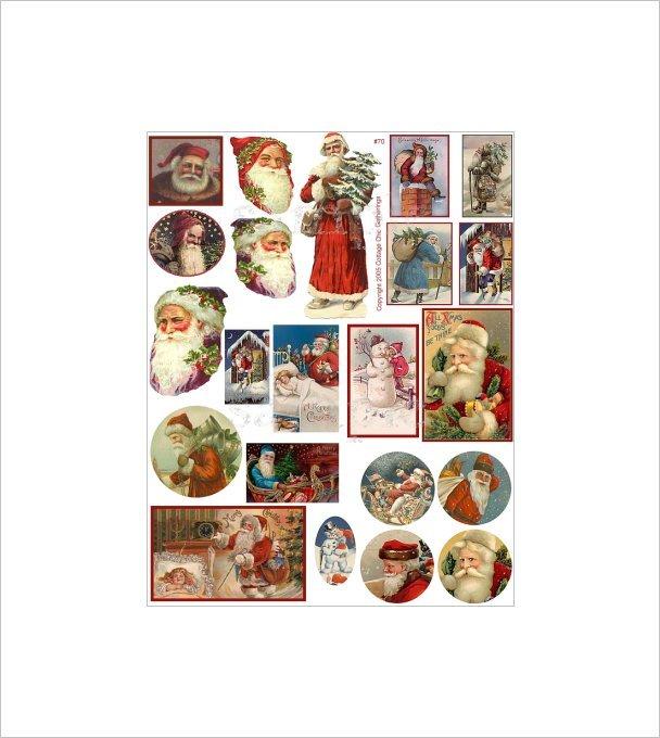 "Vintage Christmas Sticker Sheet Uncut 8.5x11"" #S70"