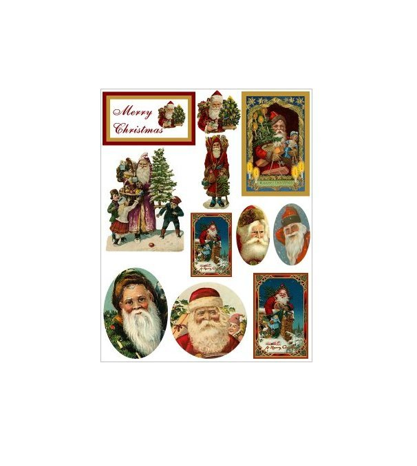 "Vintage Christmas Sticker Sheet Uncut 8.5x11"" #S99"