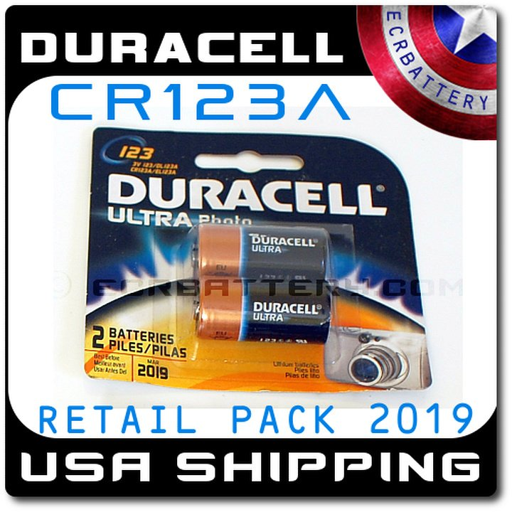 2 Pack Duracell Ultra CR123A Photo Lithium 3V Battery