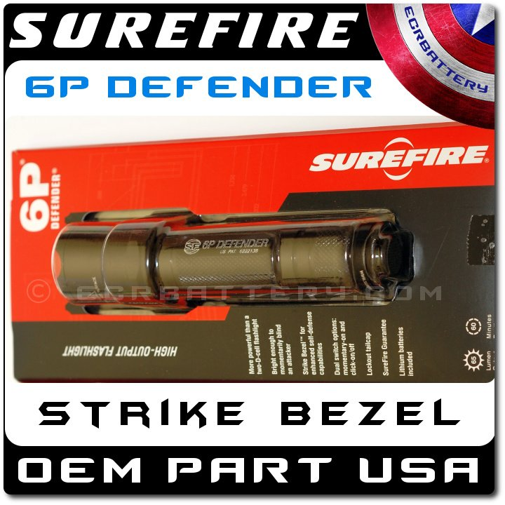 SureFire 6P Defender Black High-Output Incandescent Flashlight 6P-PD-BK