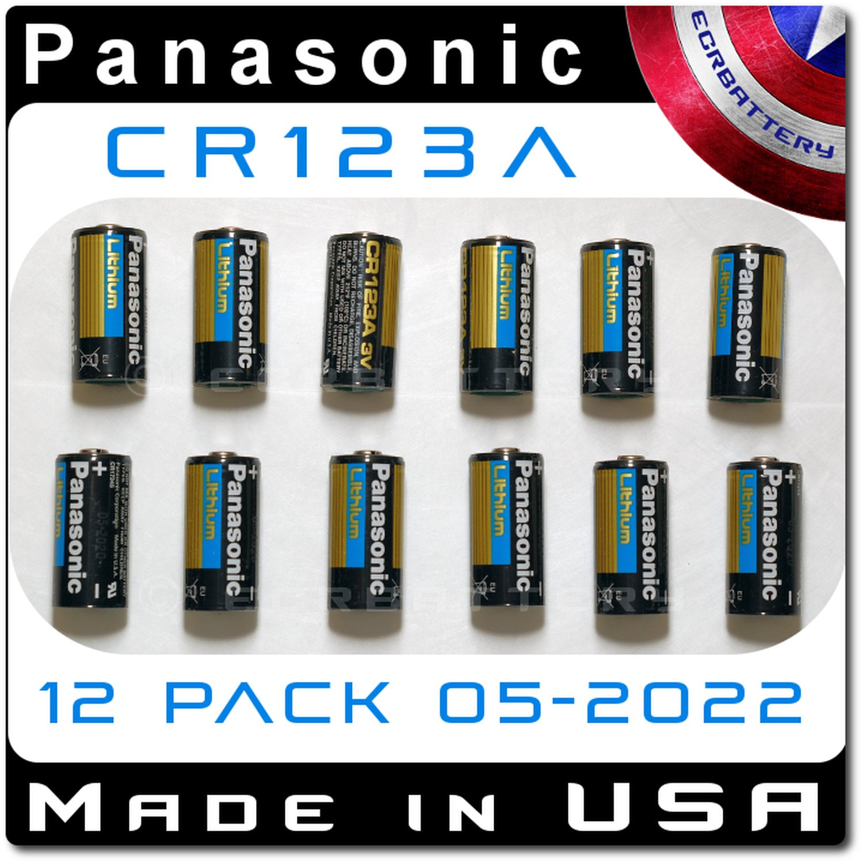 12 Pack Panasonic CR123A Lithium 3V Battery