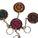 Foldable Crystal happy face handbag hook Purse Hanger & keychain 4pcs Wholesale