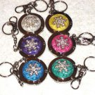 New Foldable Snowflake PrintRound Purse Hook Hanger & keychain 6pcs Holiday Gift