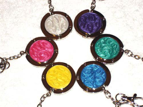 New Foldable Solid Color Round Purse Hook Hanger & keychain 5pcs Holiday Gift