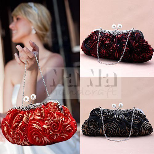 NEW Pearl + Rose Evening Purse Bride bag Tote Clutch Wedding Purse Gift SIL004