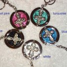 New Foldable Cross Pattern Purse Hook handbag Hanger &Keychain 5pcs Holiday Gift