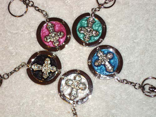 New Foldable Crystal Cross Pattern Bag hanger Purse Hook & Key Chain Nice gift