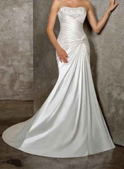 wedding dress/bridal gown  satin mermaid  beaded