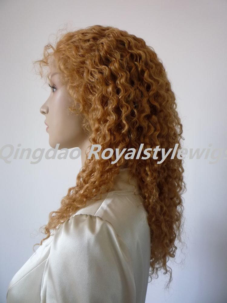 full lace front wigs afro curly blonde indian remy hair instock