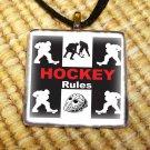 Hockey Rules Glass Pendant