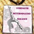Gymnastics - Determination Glass Pendant