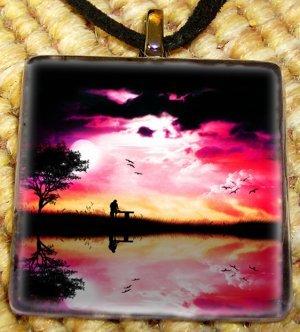 Colorful Sunset Glass Pendant