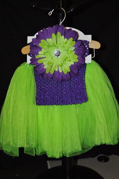 Lime Green and Purple Tutu Set