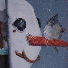 Bluebird on Snowman - Medium Slate