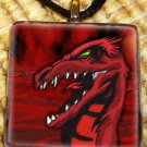 Hell Dragon Glass Tile Pendant