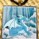 Ice Dragon Glass Tile Pendant