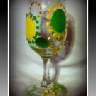 Green and Yellow Dots 8oz Wine Glass