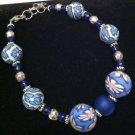 Blue Polymer Clay, Metal & Glass bracelet