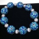 Navy, Aqua, White & Black Floral Design Bracelet