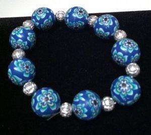 Navy, Aqua, White & Black Floral Design Bracelet