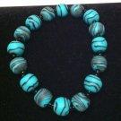 Blue & black polymer clay bracelet