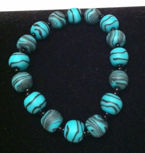 Blue & black polymer clay bracelet