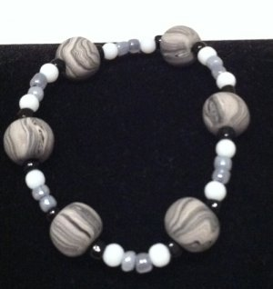 Black, white & grey featured polymer clay bracelet