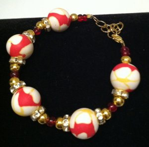 Red, Yellow & White Polymer Clay Bracelet