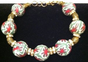 Green, red & white polymer clay bracelet
