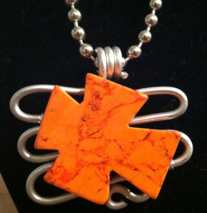 Orange Granite Stone Pendant