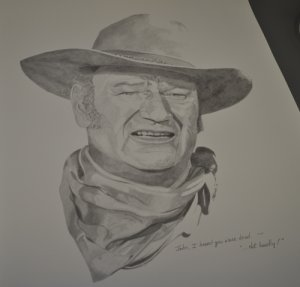 Dead? Not Hardly! John Wayne Portrait 20x16