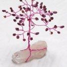 5.5 inch--GARNET Gem stone tree on a QUARTZ crystal cluster