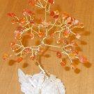6-inch CARNELIAN Gem Tree on a QUARTZ crystal cluster